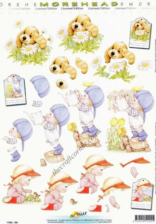 Morehead Children Gardening & A Puppy Dog 3D Decoupage Sheet